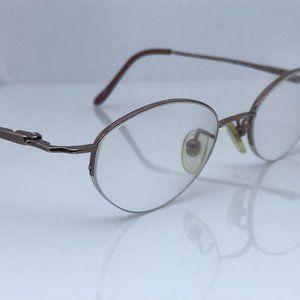 Nine West Eye Glasses Frame Brown Metal Half Rim